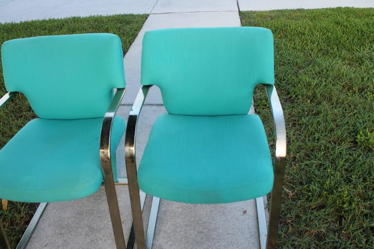 Brass Carsons Vintage Pair of Arm Cantilever Chairs Art Deco Hollywood Regency For Sale 2