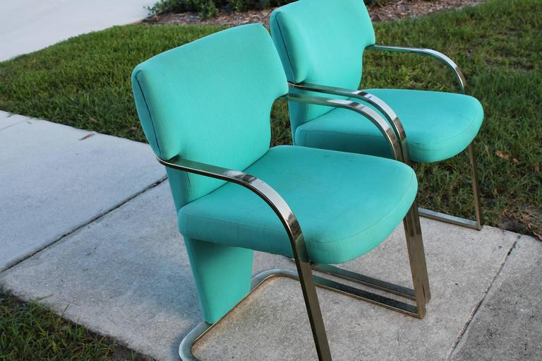 Brass Carsons Vintage Pair of Arm Cantilever Chairs Art Deco Hollywood Regency For Sale 3