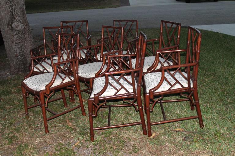Great Set Of 8 Hollywood Regency Palm Beach Vintage Faux Bamboo Chinese Chippendale Dining Arm Chairs