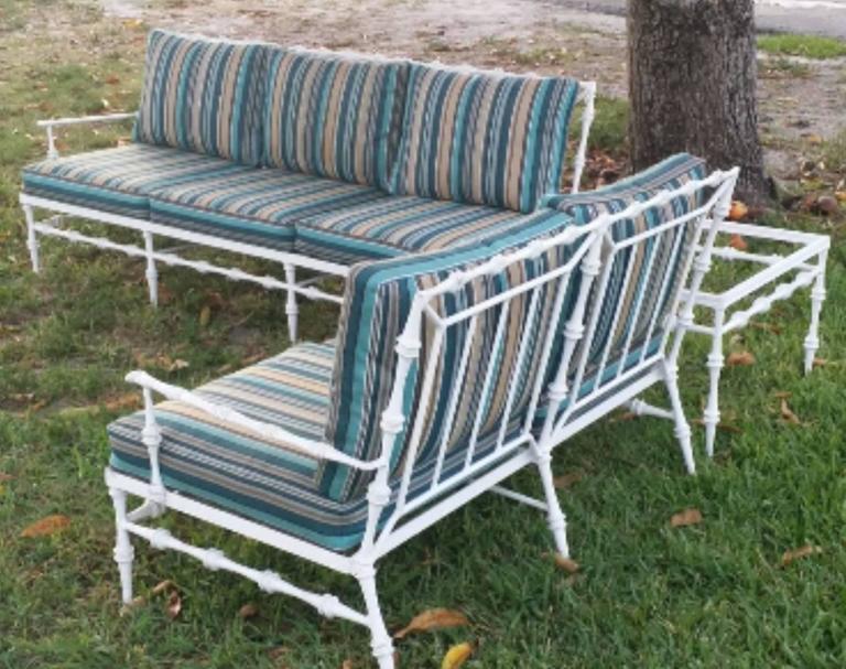 Hollywood Regency 4 Pc Phyllis Morris Patio Set Sofa Sette Coffee U0026 End  Table Aluminum Porch