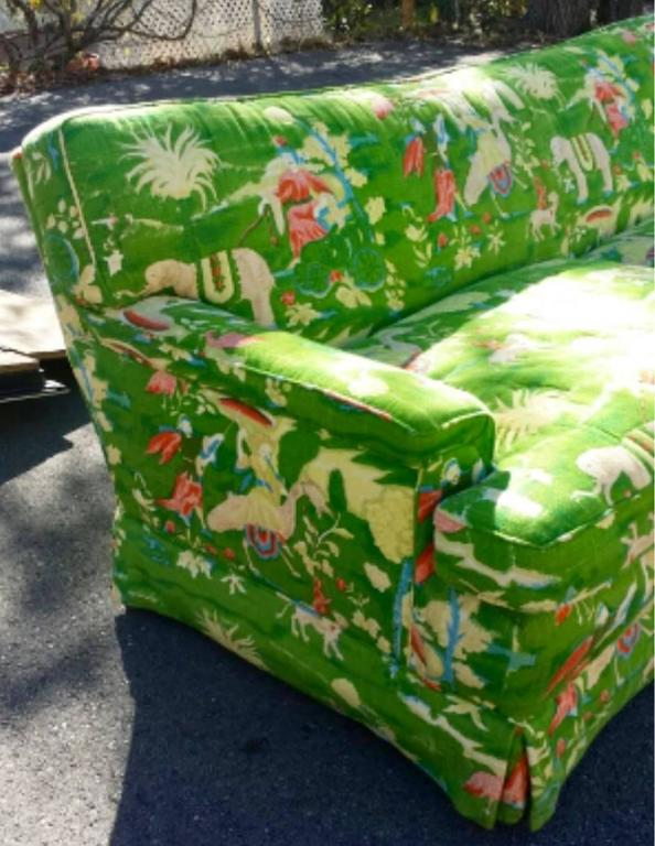 American Bob Collins Linen Sofa Couch Chinoiserie Elephant Palm Beach Green Pagoda
