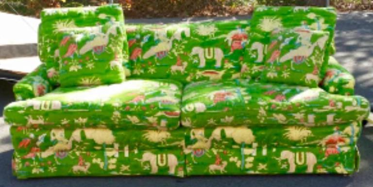 20th Century Bob Collins Linen Sofa Couch Chinoiserie Elephant Palm Beach Green Pagoda
