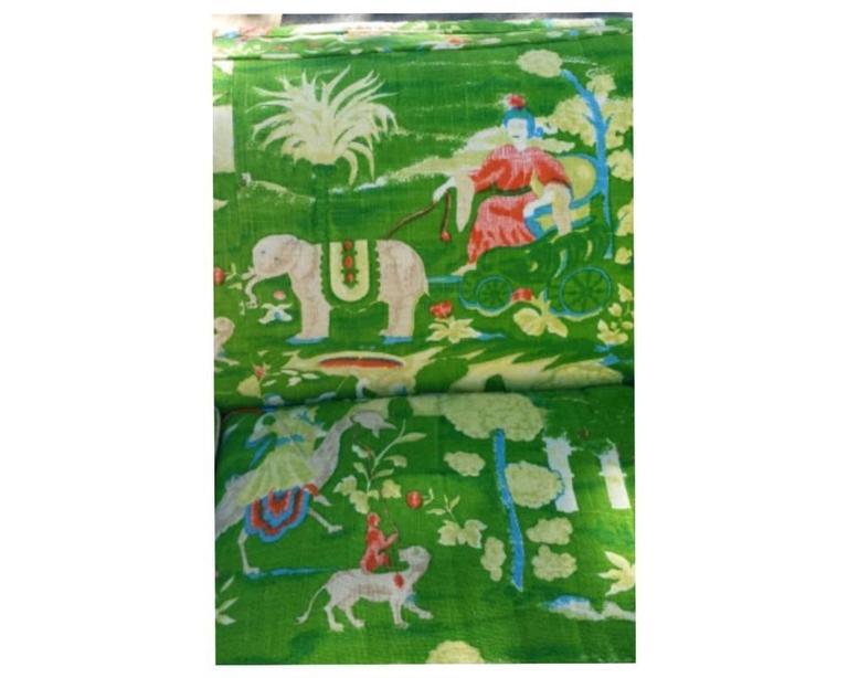 Bob Collins Linen Sofa Couch Chinoiserie Elephant Palm Beach Green Pagoda 1