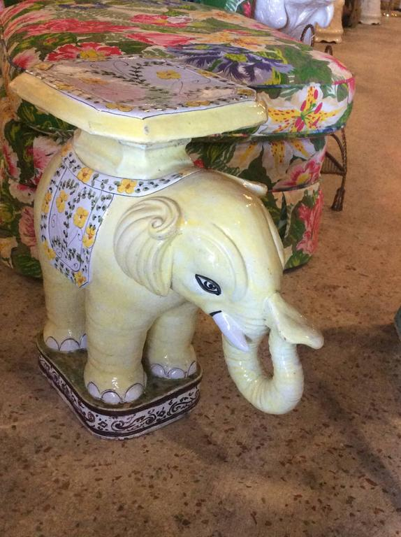 Hollywood Regency Elephant Vintage Terra Cotta Yellow Floral Garden Stand Stool Bench Side Table For Sale