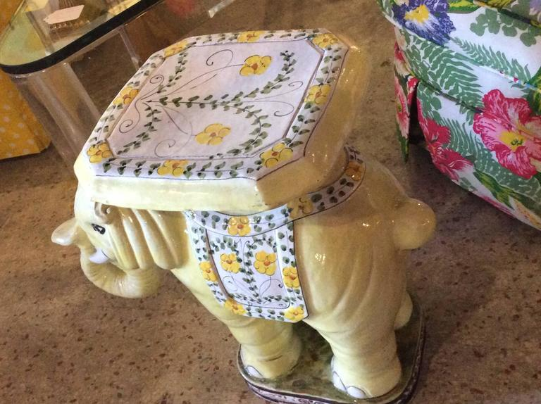 Elephant Vintage Terra Cotta Yellow Floral Garden Stand Stool Bench Side Table For Sale 1