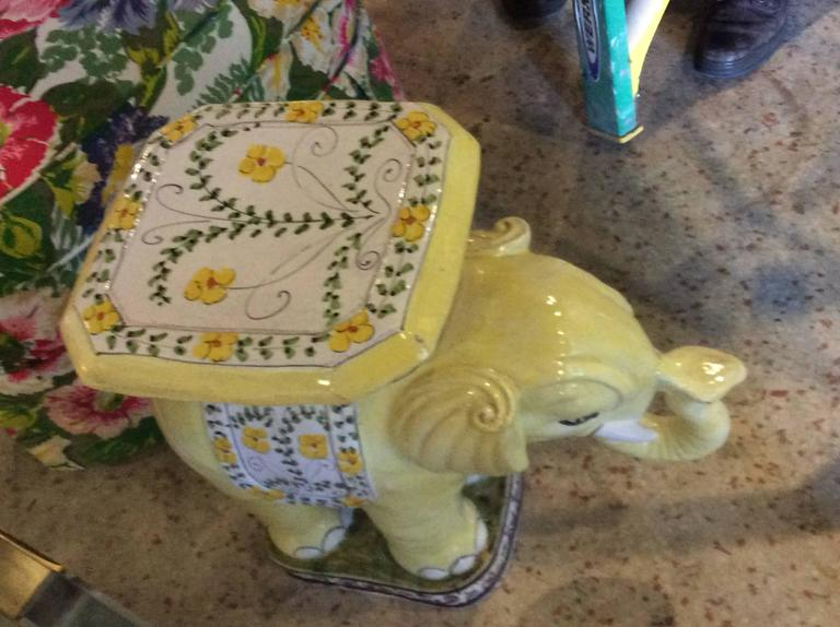 Italian Elephant Vintage Terra Cotta Yellow Floral Garden Stand Stool Bench Side Table For Sale