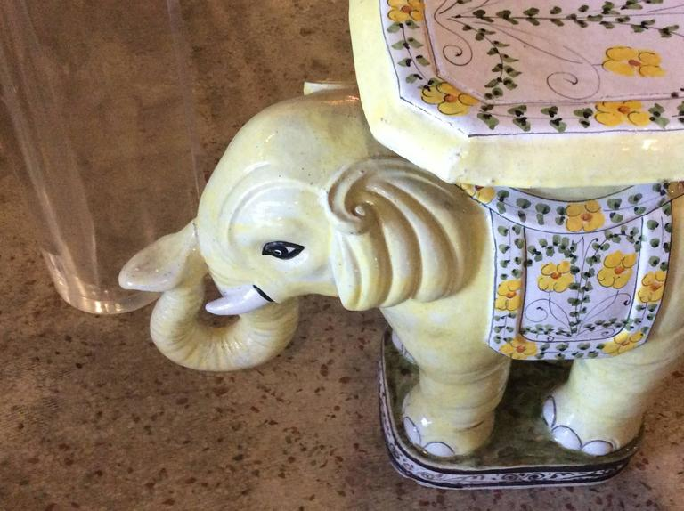 Terracotta Elephant Vintage Terra Cotta Yellow Floral Garden Stand Stool Bench Side Table For Sale