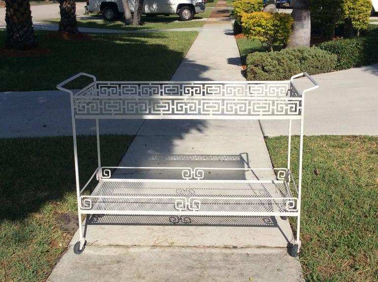 Rare Greek Key Bar Cart Buffet Metal Patio Garden