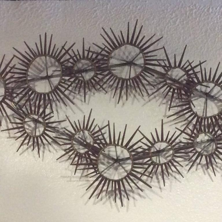 Amazing Vintage Metal Brutalist Nail Sunburst, Starburst Wall Art. In The  Style Of Silas