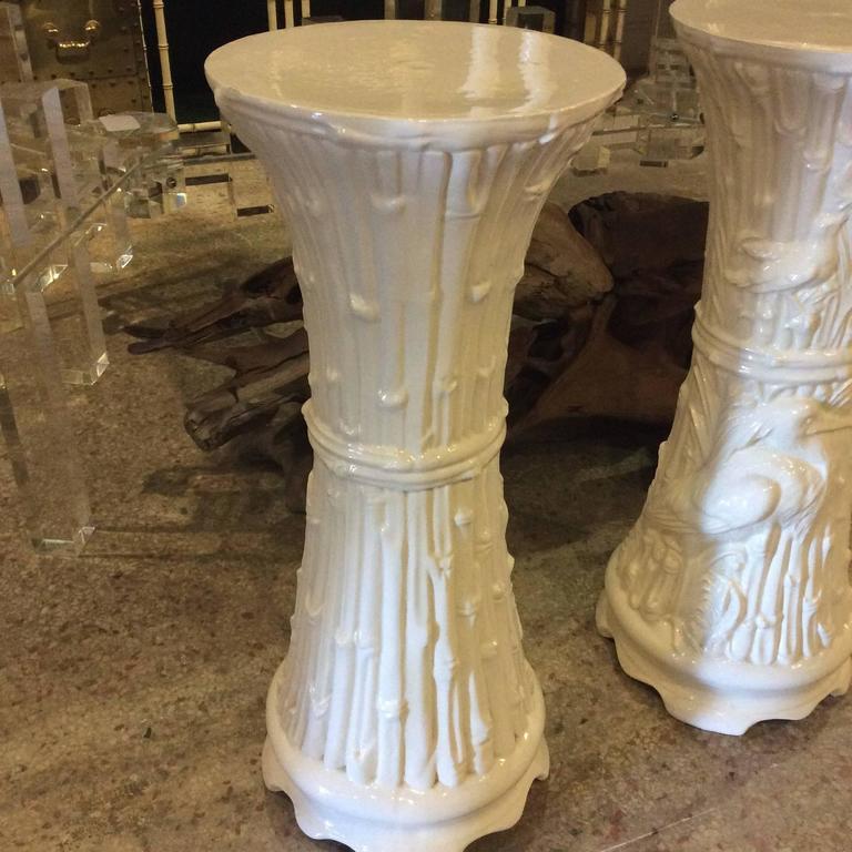 Plant Stands Vintage Pair Of White Ceramic Garden Birds