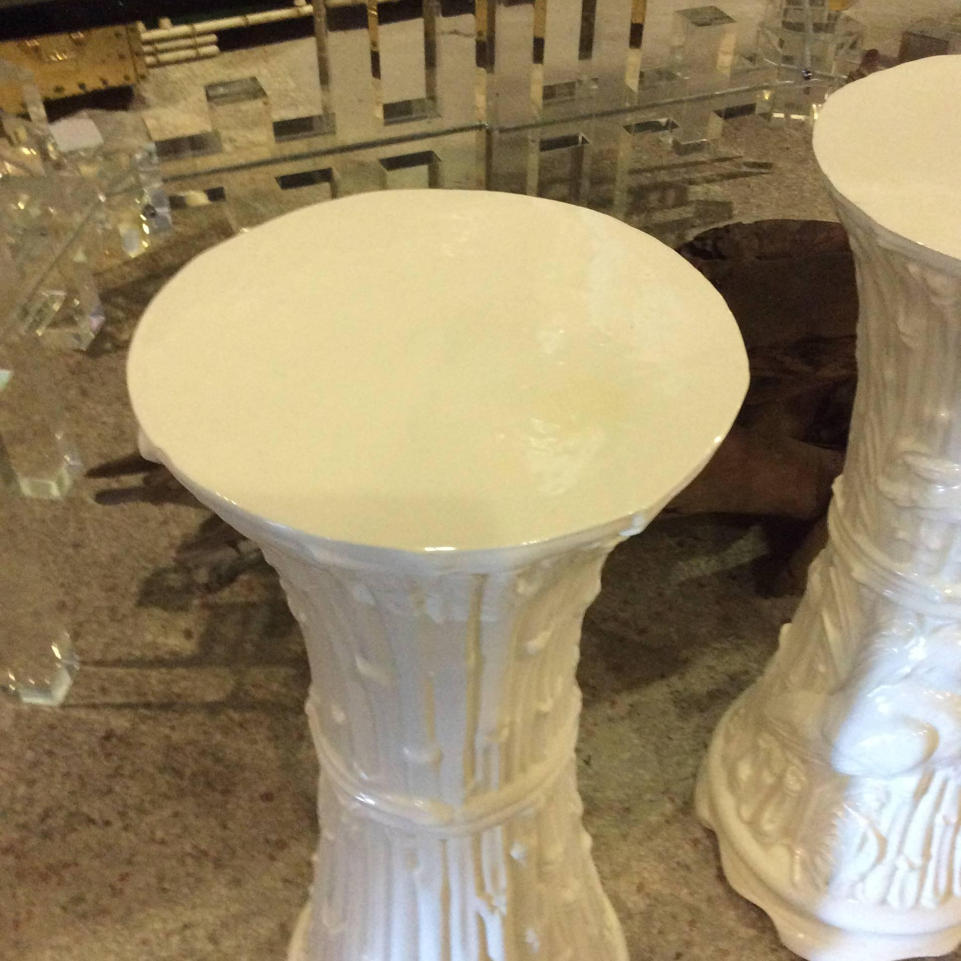 Plant Stands Vintage Pair of White Ceramic Garden Birds Heron White ...