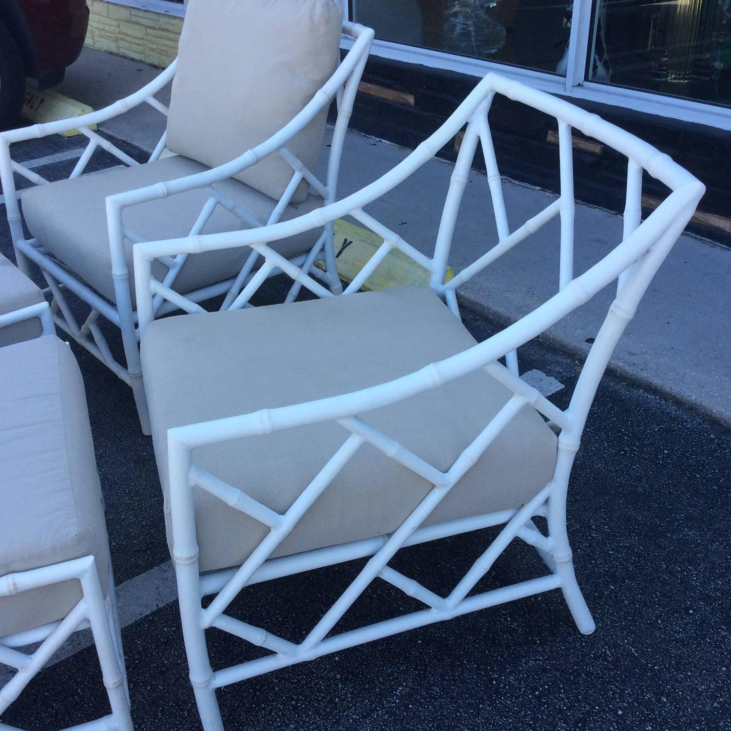 Chinese Chippendale Pair Faux Bamboo Metal Patio Lounge Armchairs And