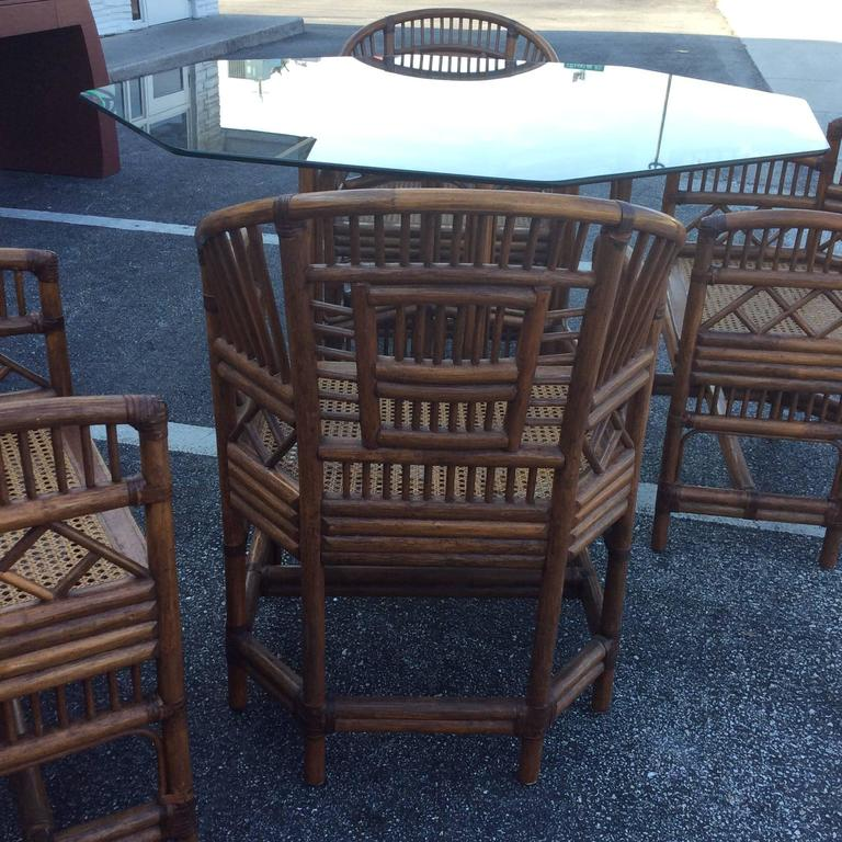 Hollywood Regency Brighton Style Rattan Dining Set Game Table Chinese Chippendale Four Chairs For Sale