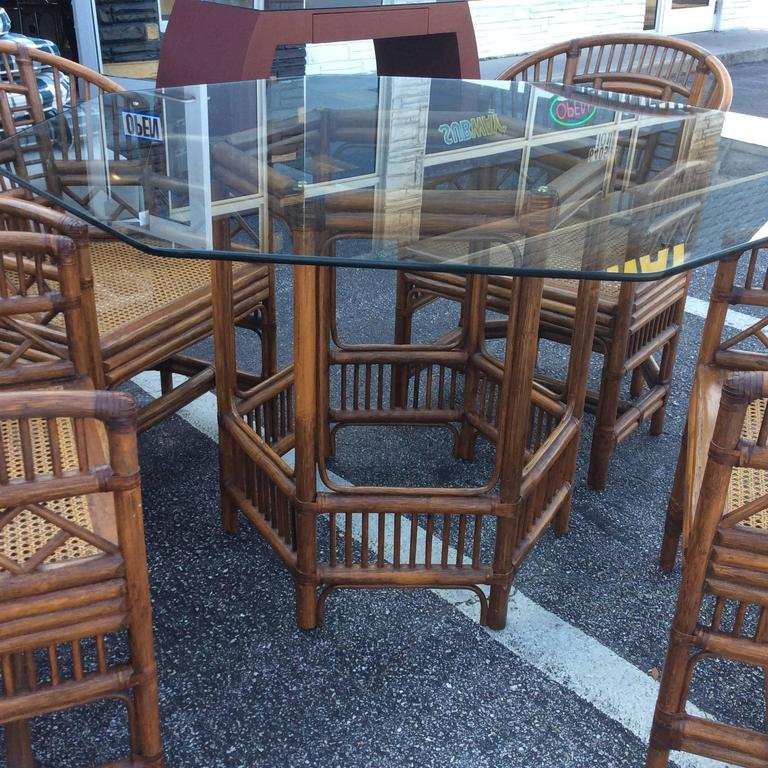 American Brighton Style Rattan Dining Set Game Table Chinese Chippendale Four Chairs For Sale