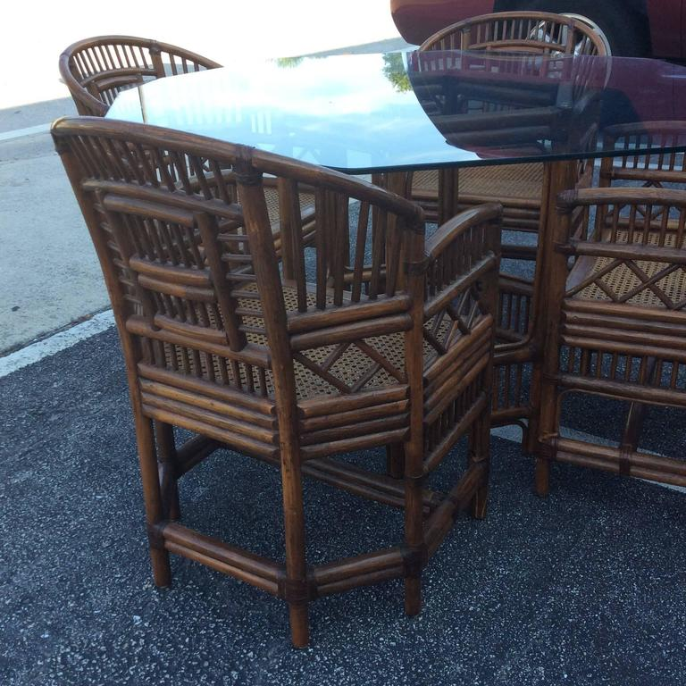 Cane Brighton Style Rattan Dining Set Game Table Chinese Chippendale Four Chairs For Sale