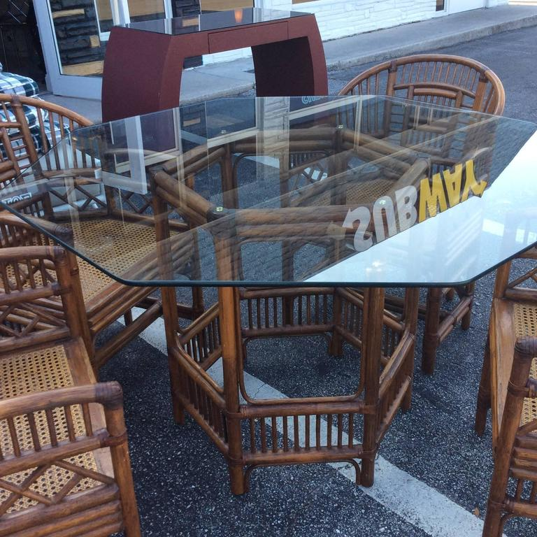 Brighton Style Rattan Dining Set Game Table Chinese Chippendale Four Chairs For Sale 3