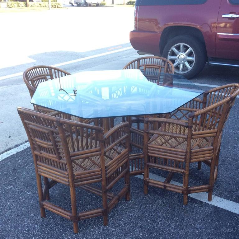 Brighton Style Rattan Dining Set Game Table Chinese Chippendale Four Chairs In Good Condition For Sale In West Palm Beach, FL