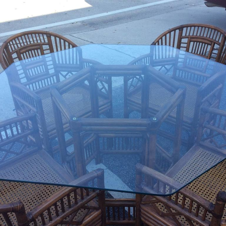 20th Century Brighton Style Rattan Dining Set Game Table Chinese Chippendale Four Chairs For Sale