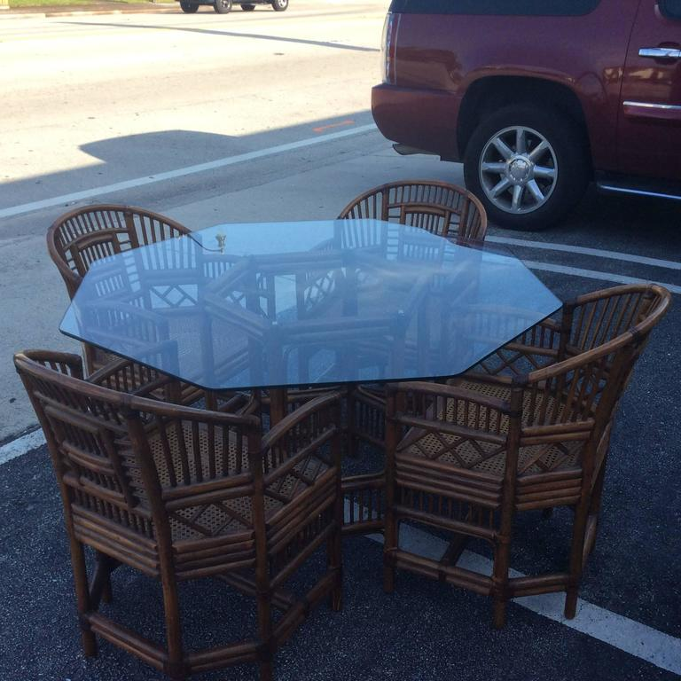 Brighton Style Rattan Dining Set Game Table Chinese Chippendale Four Chairs For Sale 1