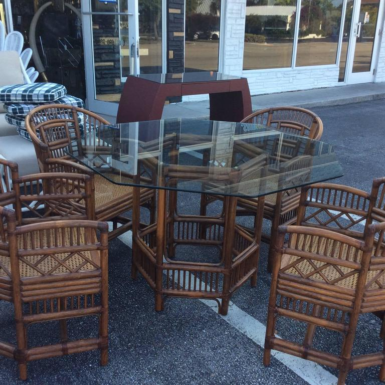 Brighton Style Rattan Dining Set Game Table Chinese Chippendale Four Chairs For Sale 2