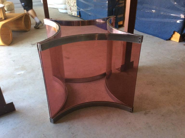 Rare vintage mid century modern Alessandro Albrizzi purple lucite and chrome dining table or game table base. Chrome and lucite will be polished prior to shipping. Glass top not included.