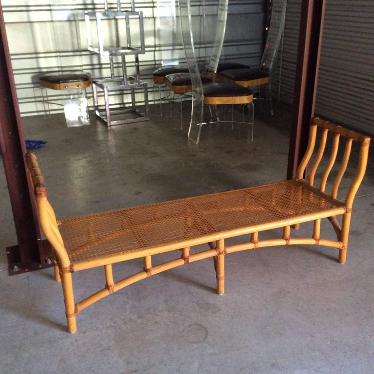 Bamboo Rattan End Of Bed Bench Chinoiserie Palm Beach