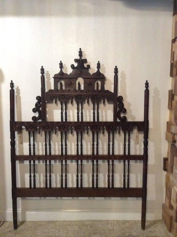 Pagoda Headboard Vintage Full Queen Ornate Spanish Spindle