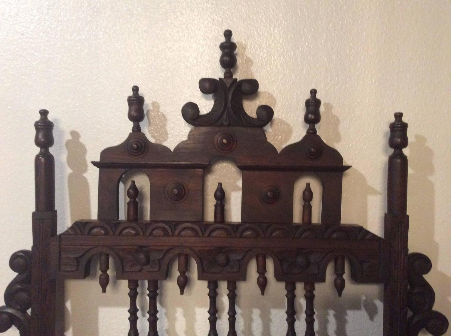 Antique Bed: Pagoda Headboard Vintage Full Queen Ornate Spanish Spindle