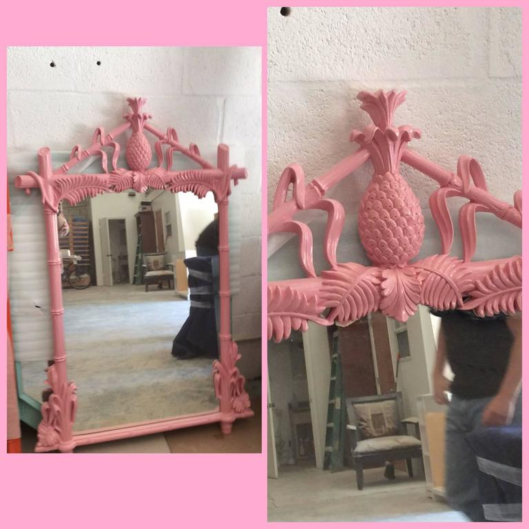 Gampel and Stoll Newly Lacquered Flamingo Pink Pineapple Faux Bamboo ...