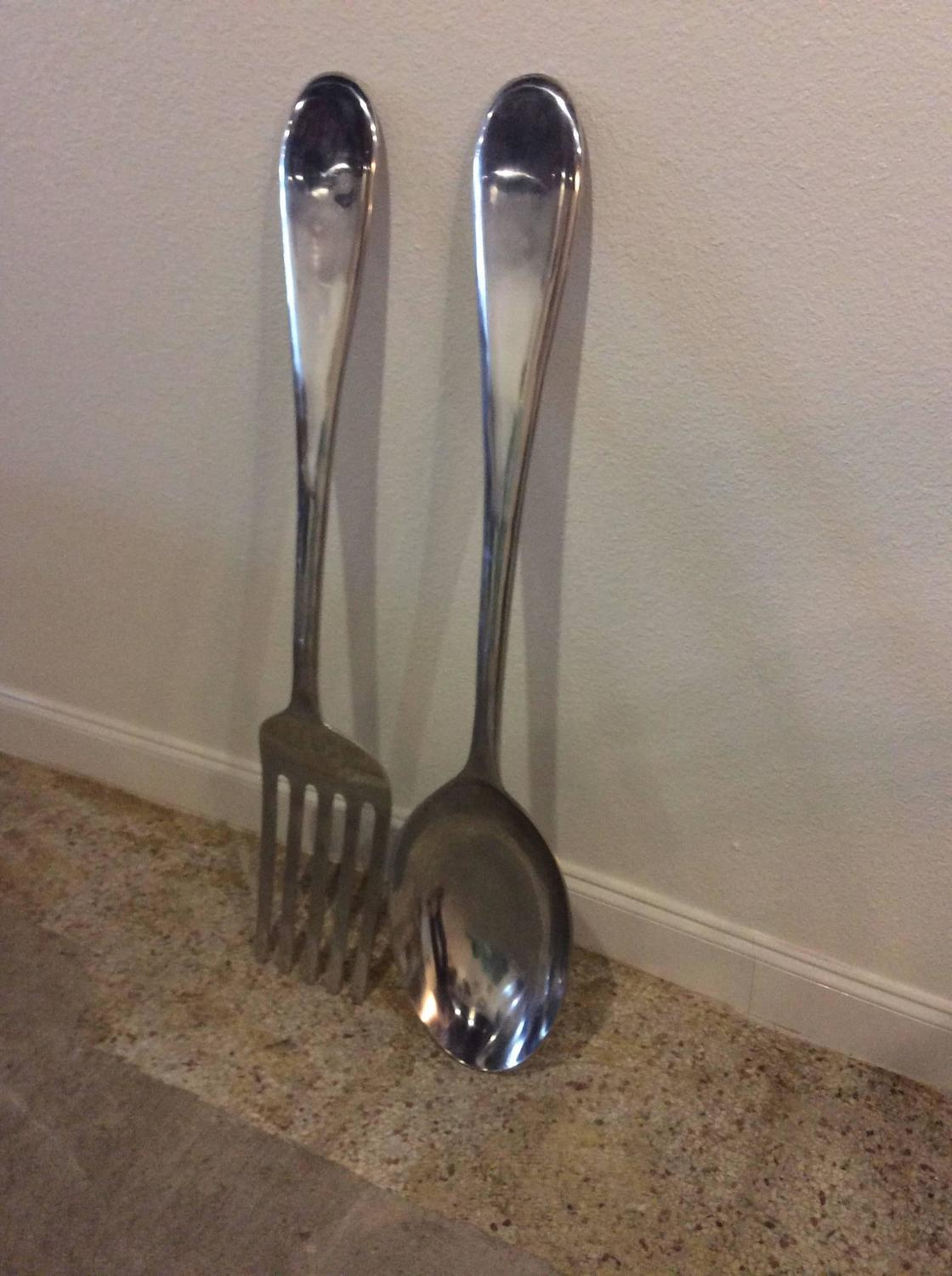 Vintage Pair Of Spoon And Fork Monumental Kitchen Wall Art