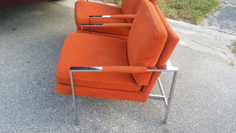 Carsons vintage pair of chrome arm lounge chairs cube for Carson chaise lounge