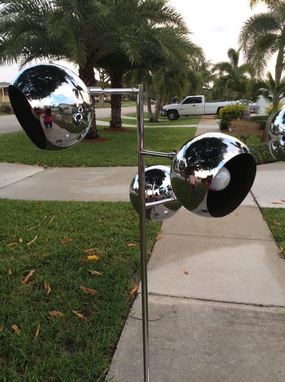 Floor Lamps Pair Of Chrome Triple Eyeball Ball Koch And