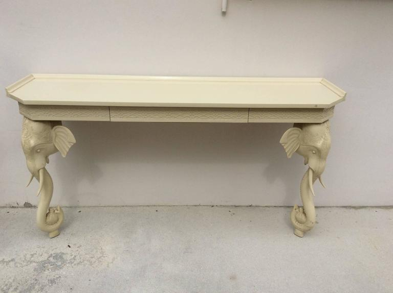 Vintage Gampel and Stoll Elephant Wall Console Table Desk Fretwork