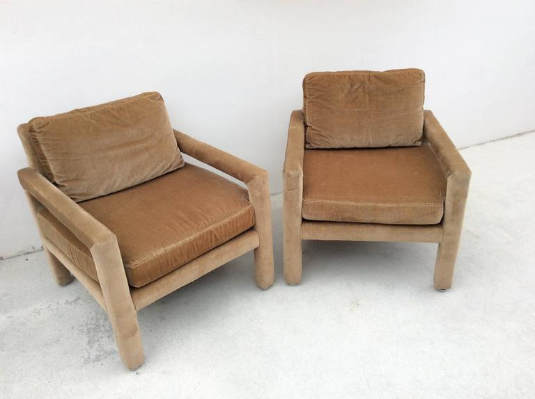 Lovely Pair Of Vintage Drexel Heritage Parsons, Club, Lounge Armchairs In A  Beautiful Camel