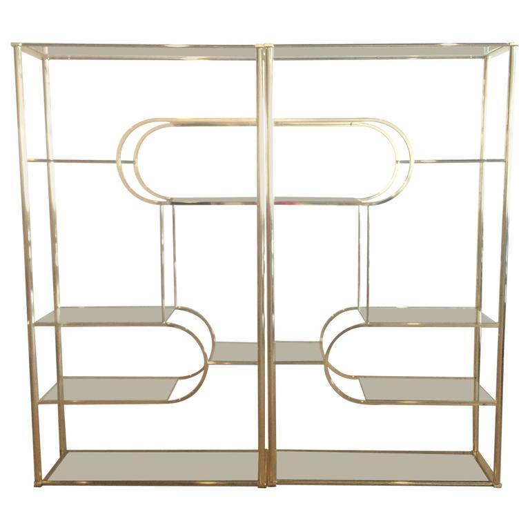 Pair Brass Etageres DIA Design Institute of America Vintage Glass ...