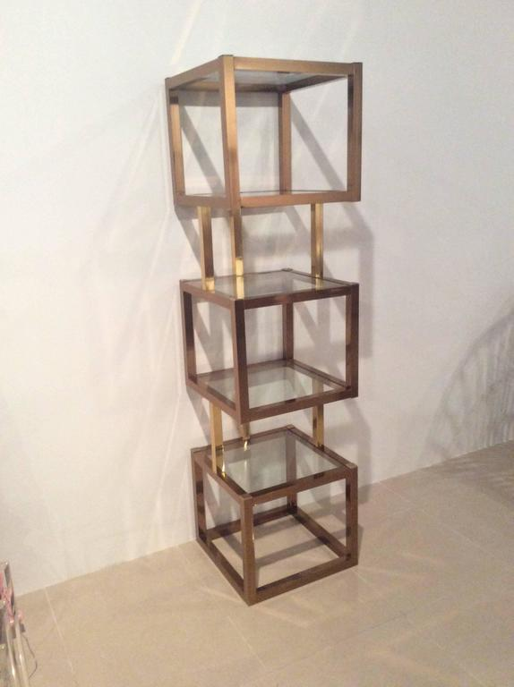 Brass gold and rose copper cube square etagere vintage glass shelves mixed me - Etagere cube modulable ...