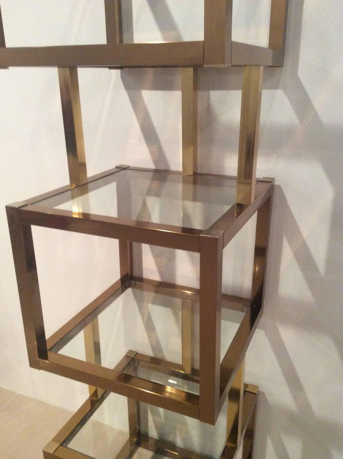 brass gold and rose copper cube square etagere vintage glass shelves mixed metals for sale at. Black Bedroom Furniture Sets. Home Design Ideas