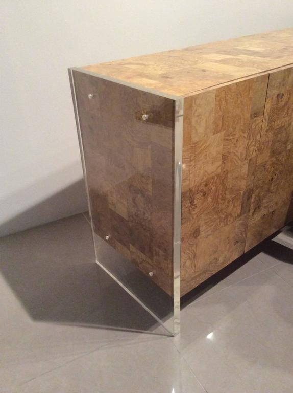 Faux Burl Wood Lucite Credenza Vintage Sideboard Buffet Dresser Patchwork 2