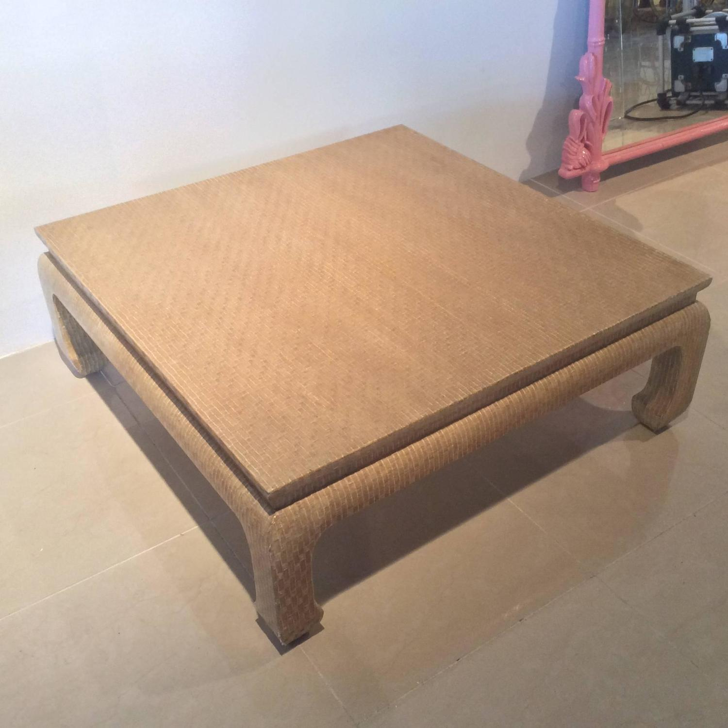 Baker Furniture Grasscloth Linen Wrapped Vintage Coffee Cocktail Table Ming  At 1stdibs