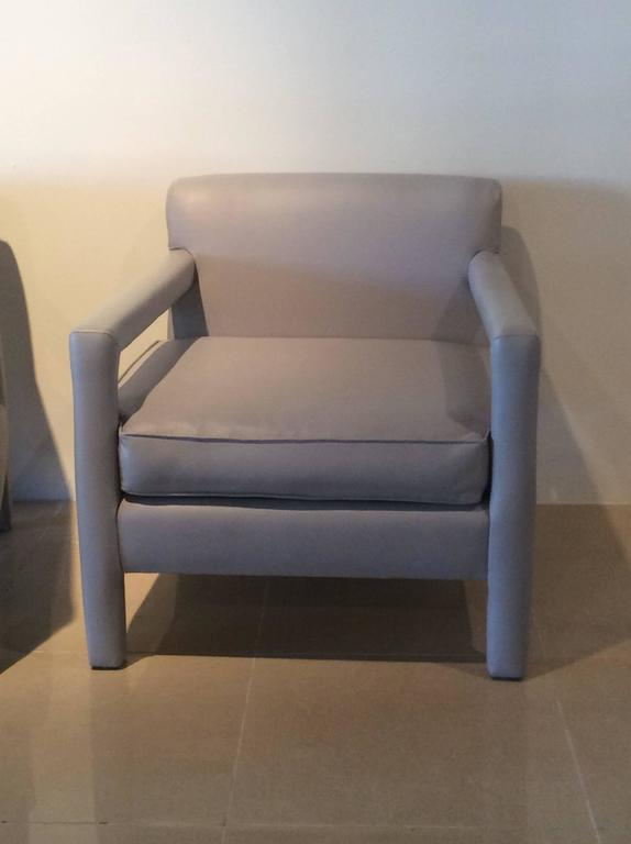 Parsons Chairs Vintage Pair Of Grey Leather Arm Chairs
