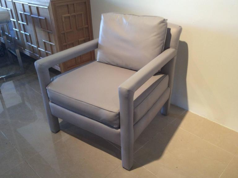 Wonderful Vintage Pair Of Lounge Chairs In A Beautiful, Soft Grey Leather.  I Have