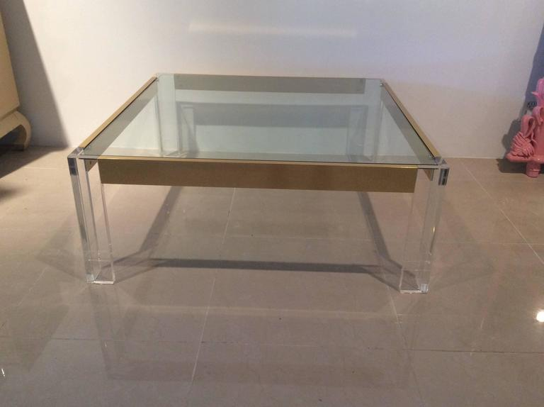 Hollywood Regency  Lucite and Brass Coffee Cocktail Table Vintage Charles Hollis Jones Style Glass For Sale