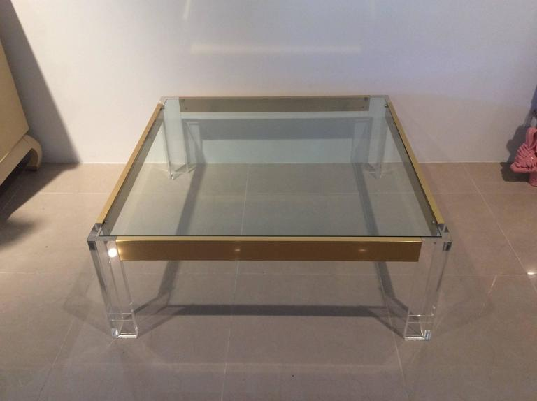 American  Lucite and Brass Coffee Cocktail Table Vintage Charles Hollis Jones Style Glass For Sale