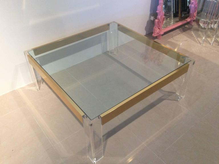 Lucite and Brass Coffee Cocktail Table Vintage Charles Hollis Jones Style Glass For Sale 1