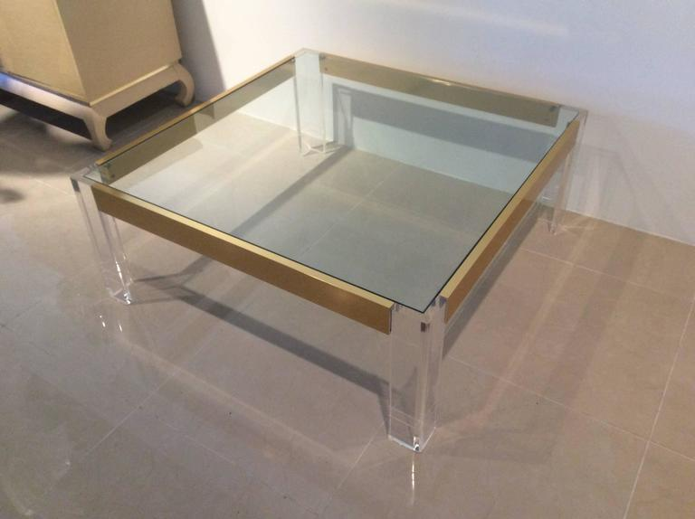 Lucite and Brass Coffee Cocktail Table Vintage Charles Hollis Jones Style Glass For Sale 2