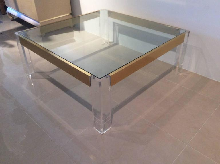 Lucite and Brass Coffee Cocktail Table Vintage Charles Hollis Jones Style Glass For Sale 3