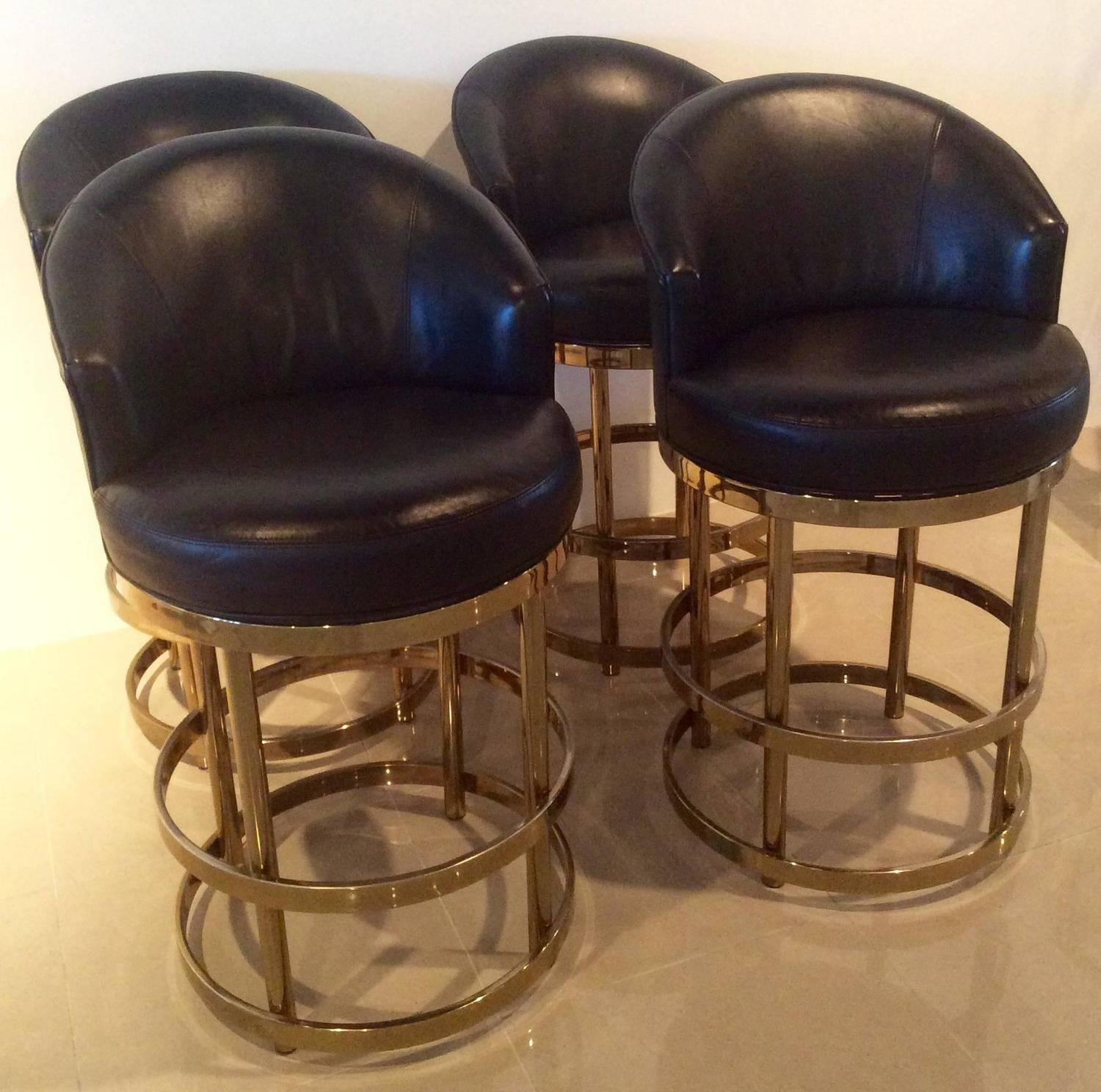 Brass Swivel Counter Bar Stools Vintage Set 4 Kitchen