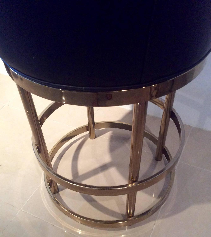 Brass Swivel Counter Bar Stools Vintage Set 4 Kitchen