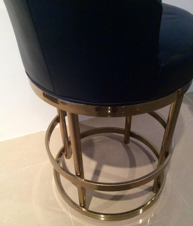 Brass Swivel Counter Bar Stools Vintage Set 4 Kitchen Island At 1stdibs