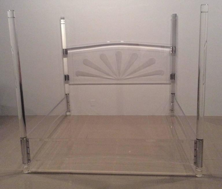 Lucite And Chrome Four Post Canopy Bed King Size Vintage